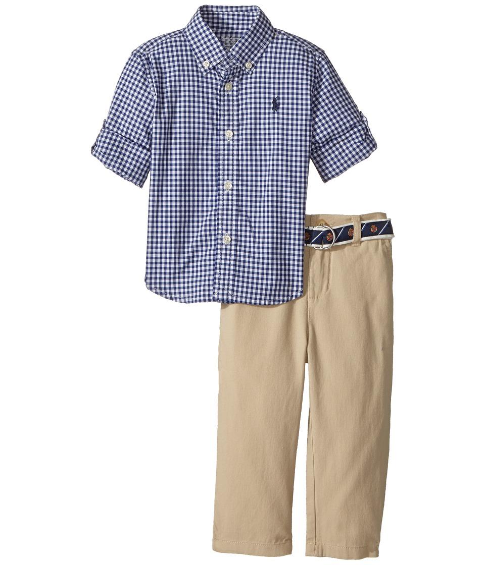 Ralph Lauren Baby - Gingham Shirt Pants Set (Infant) (Royal) Boy's Active Sets