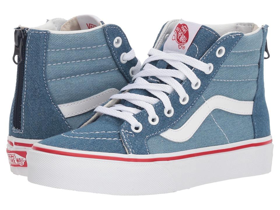 Vans Kids Sk8-Hi Zip (Little Kid/Big Kid) ((Denim Two-Tone) Blue/True White) Boys Shoes