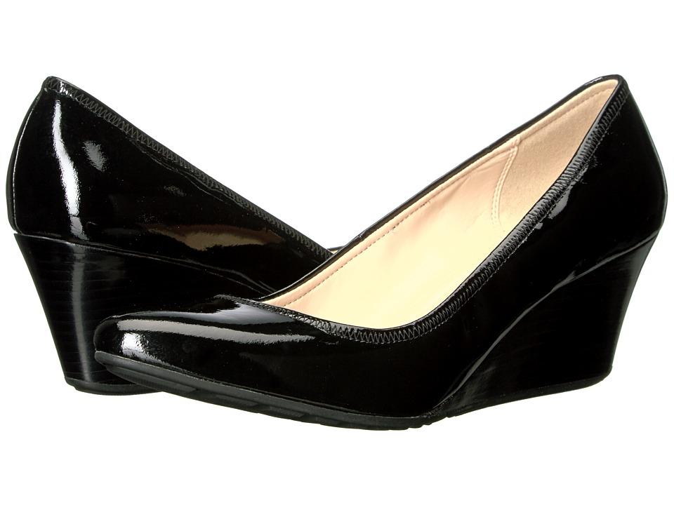 Cole Haan Emory Luxe Wedge 65mm II (Black Patent/Stacked) Women