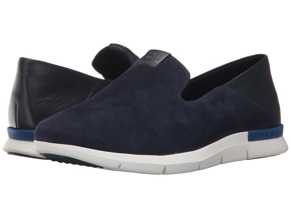 Cole Haan Grand Horizon Slip-On II (Marine Blue Suede/Leather/Optic White) Women