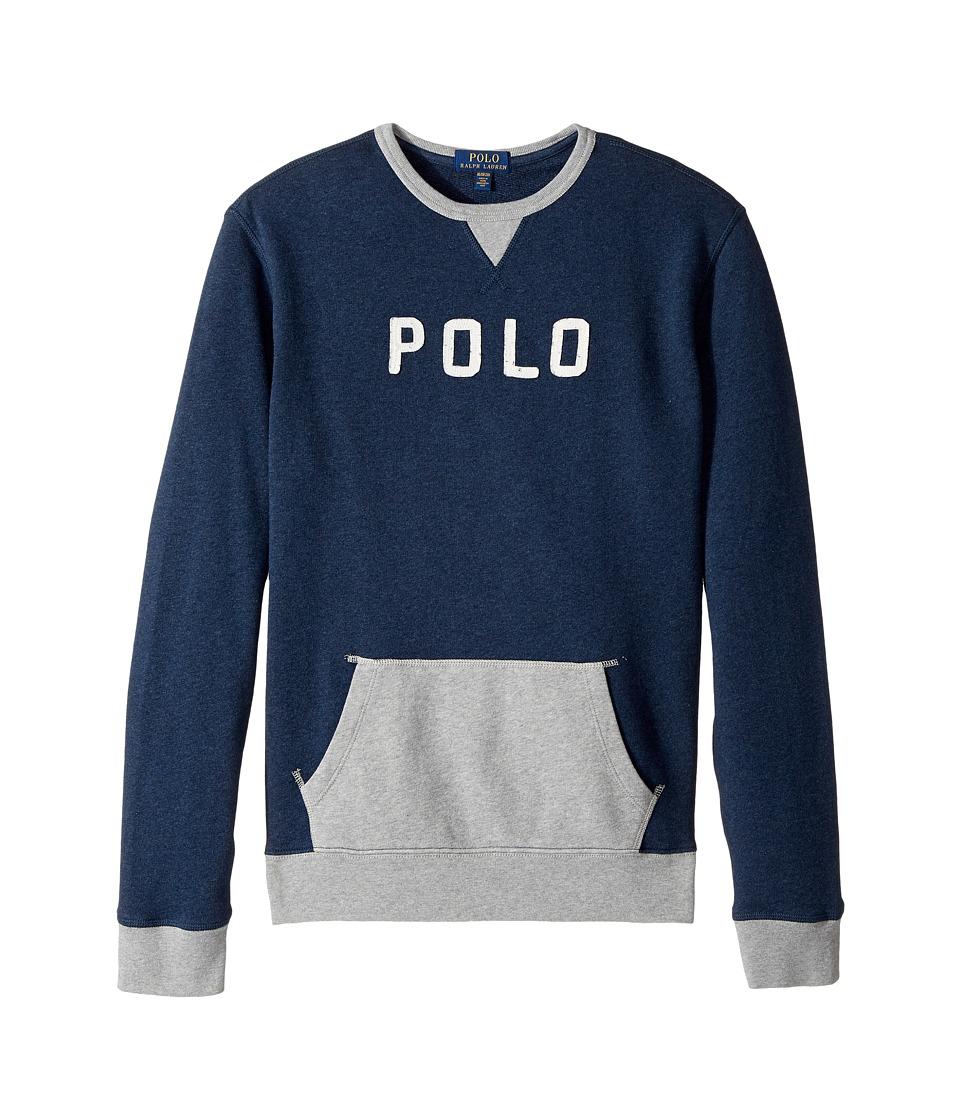 Polo Ralph Lauren Kids - Cotton French Terry Sweatshirt (Big Kids) (Medieval Blue Heather) Boy's Sweatshirt