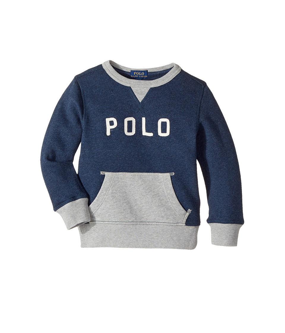 Polo Ralph Lauren Kids - Cotton French Terry Sweatshirt (Toddler) (Medieval Blue Heather) Boy's Sweatshirt