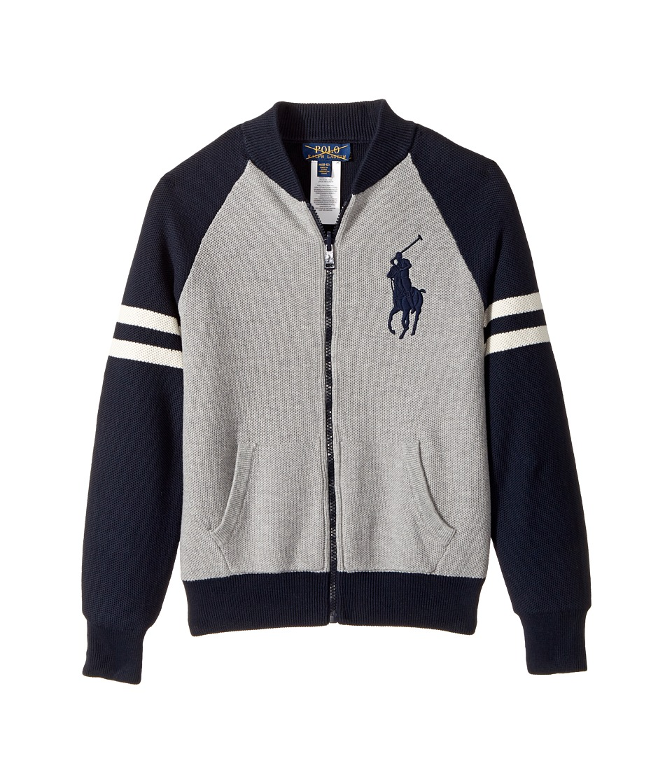 Polo Ralph Lauren Kids - Reversible Cotton Sweater (Big Kids) (Andover Heather Multi) Boy's Sweater