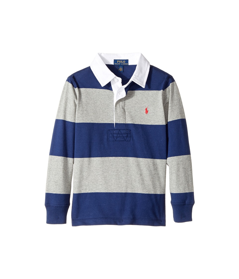 Polo Ralph Lauren Kids - Striped Cotton Rugby Shirt (Little Kids/Big Kids) (Freshwater Multi) Boy's Clothing