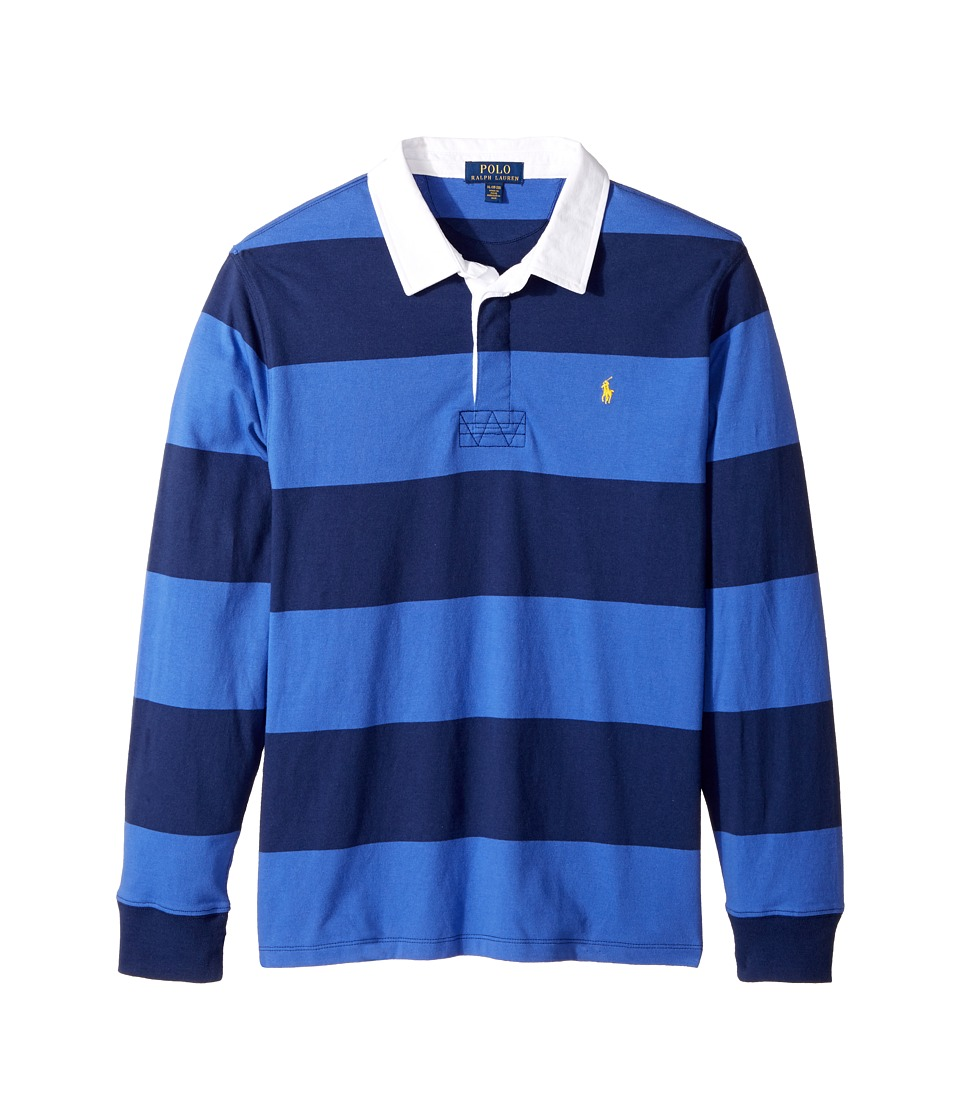 Polo Ralph Lauren Kids - Cotton Jersey Rugby Shirt (Big Kids) (Barclay Blue Multi) Boy's Clothing