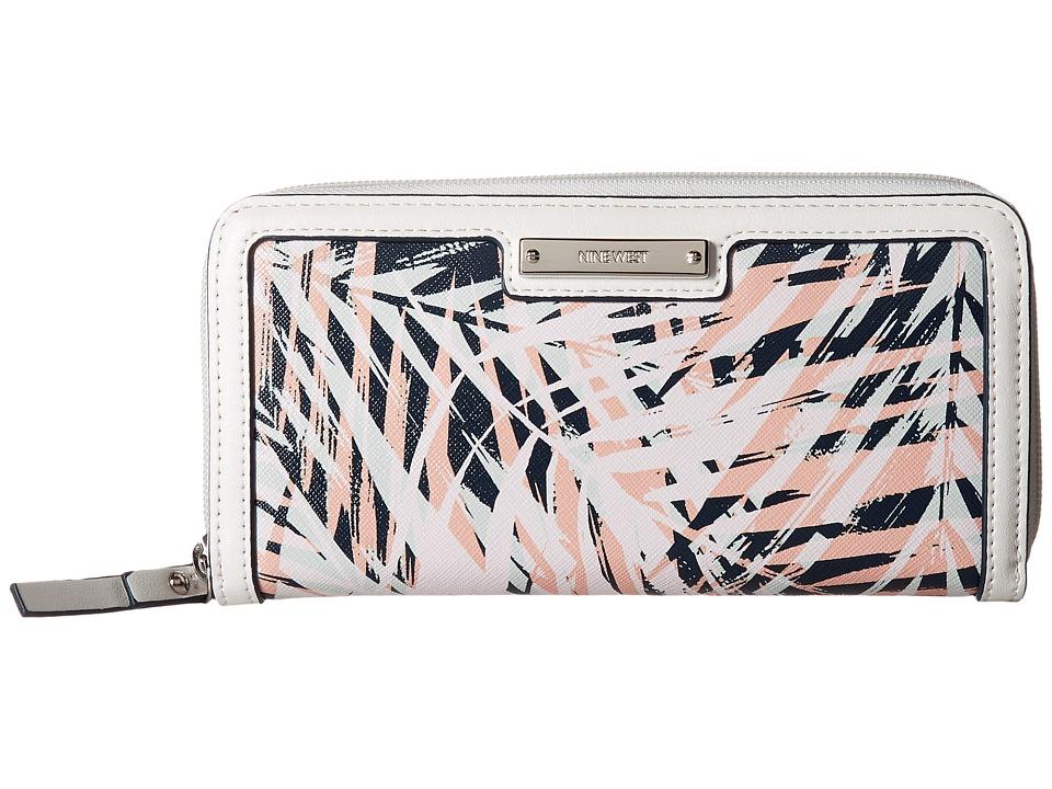 Nine West - Table Treasures Zip Around Wallet (India Ink/Pink Multi/Milk) Wallet Handbags