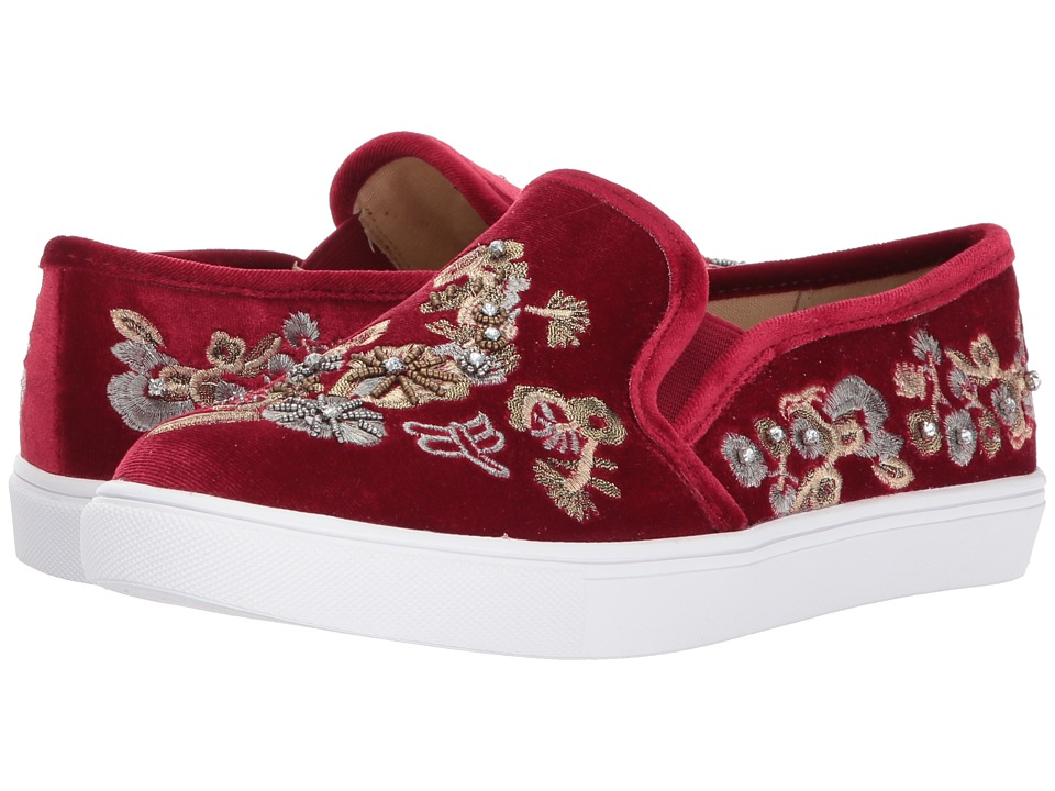 Blue by Betsey Johnson - Ellie (Burgundy Velvet) Women's Slip on Shoes