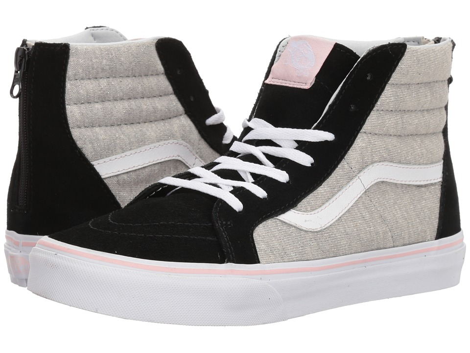 Vans Kids Sk8-Hi Zip (Little Kid/Big Kid) ((Shimmer Jersey) Black/Gray) Girls Shoes