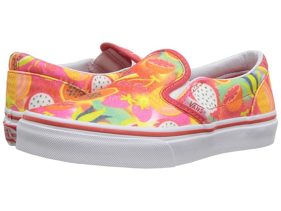 Vans Kids Classic Slip-On (Little Kid/Big Kid) ((Glitter Fruits) Multi/True White) Girls Shoes