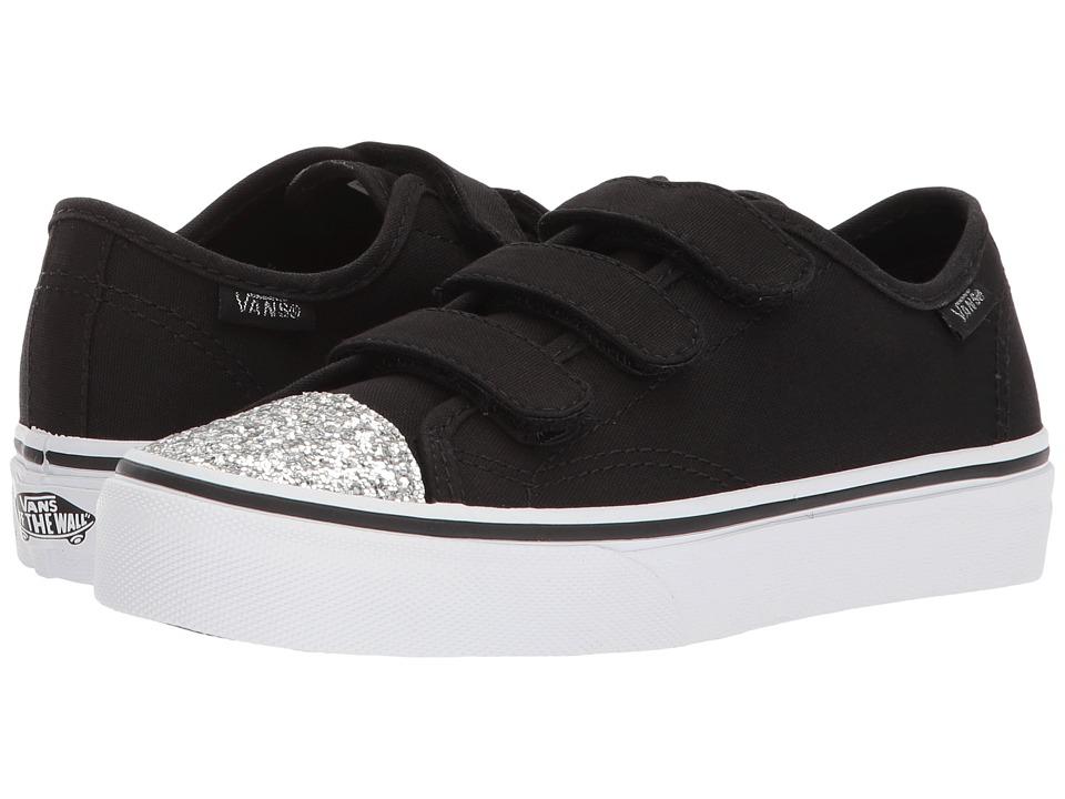 Vans Kids Style 23 V (Little Kid/Big Kid) ((Glitter Toe) Black/True White) Girl