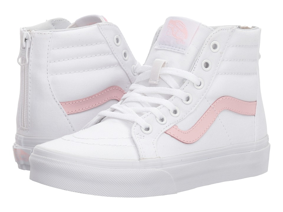 Vans Kids Sk8-Hi Zip (Little Kid/Big Kid) (True White/Chalk Pink) Girls Shoes