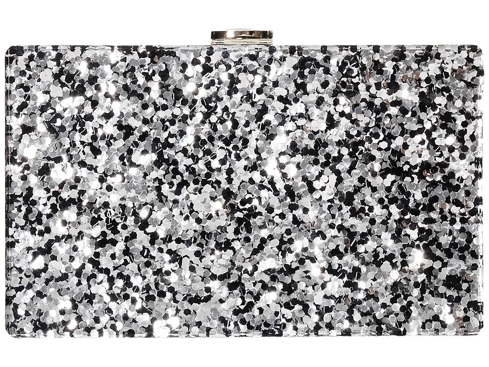 Circus by Sam Edelman - Glitter Acrylic Frame Clutch (Black/Silver Glitter) Clutch Handbags