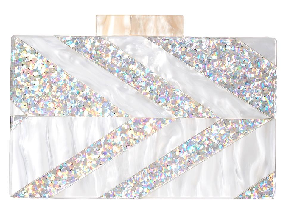 Circus by Sam Edelman - Glitter Acrylic Frame Clutch (Silver Chevron) Clutch Handbags