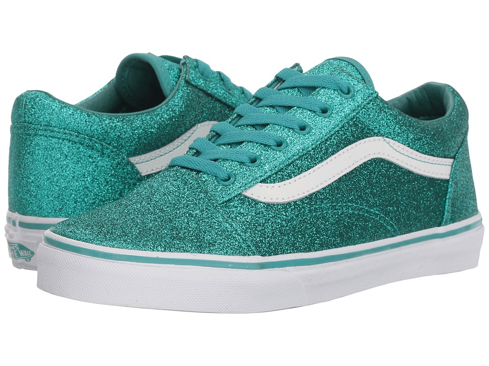 Vans Kids Old Skool (Little Kid/Big Kid) ((Glitter) Turquoise) Girls Shoes