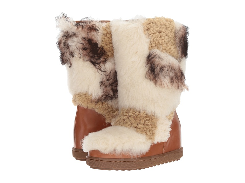 COACH - Morton (Saddle/Natural Multi Calf/Shearling Mix) Women's Pull-on Boots