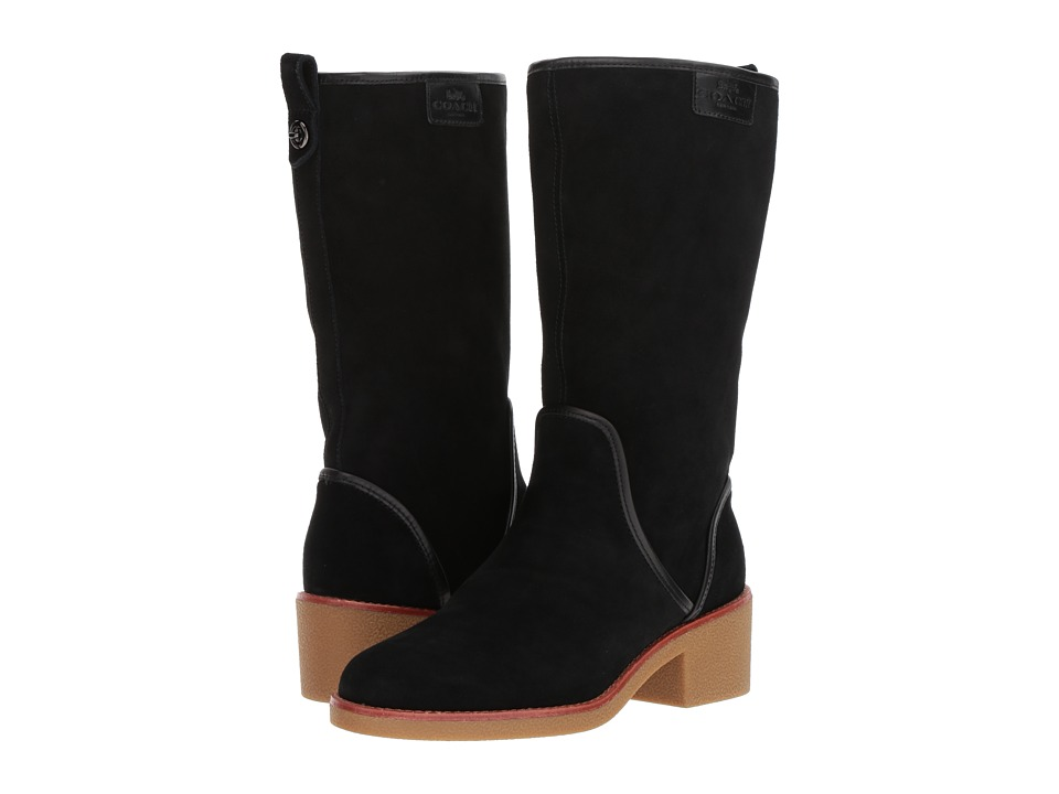 COACH - Palmer (Black Suede) Women's Pull-on Boots