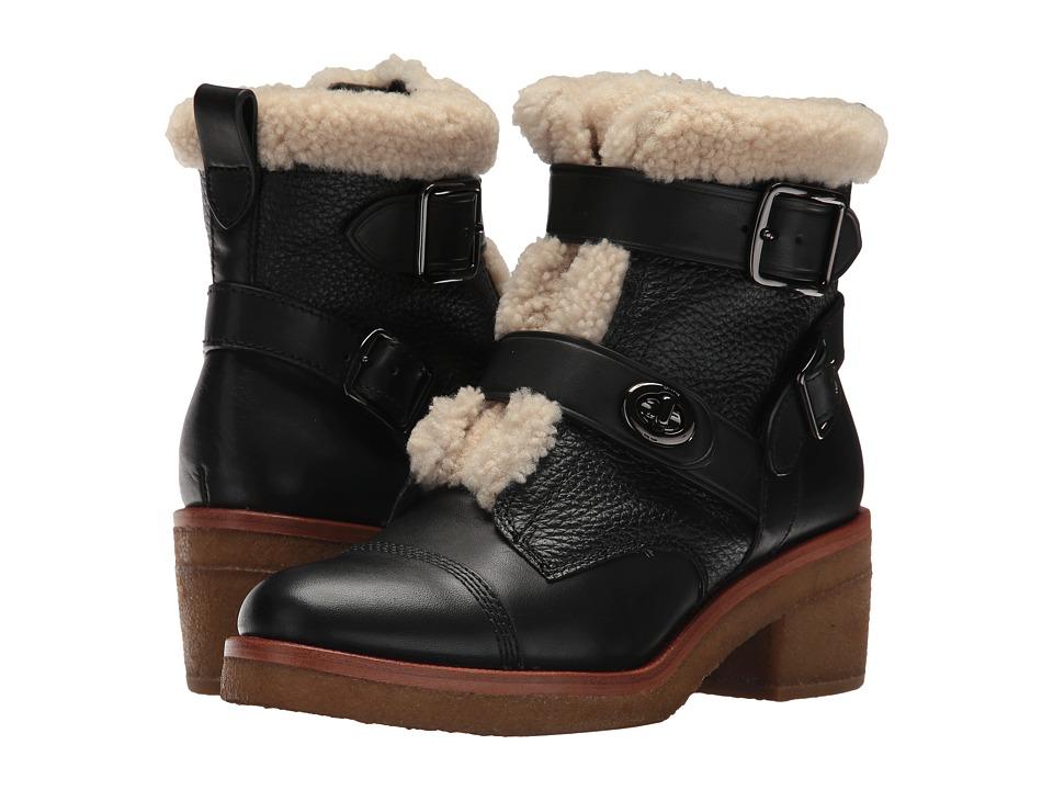 COACH Preston (Black/Natural Soft Vegan Leather/Shearling) Women