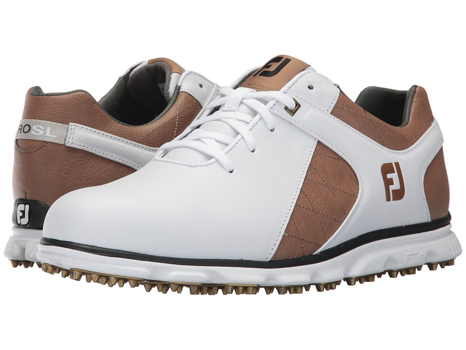 FootJoy - Pro SL (White/Taupe/Gold) Men's Shoes