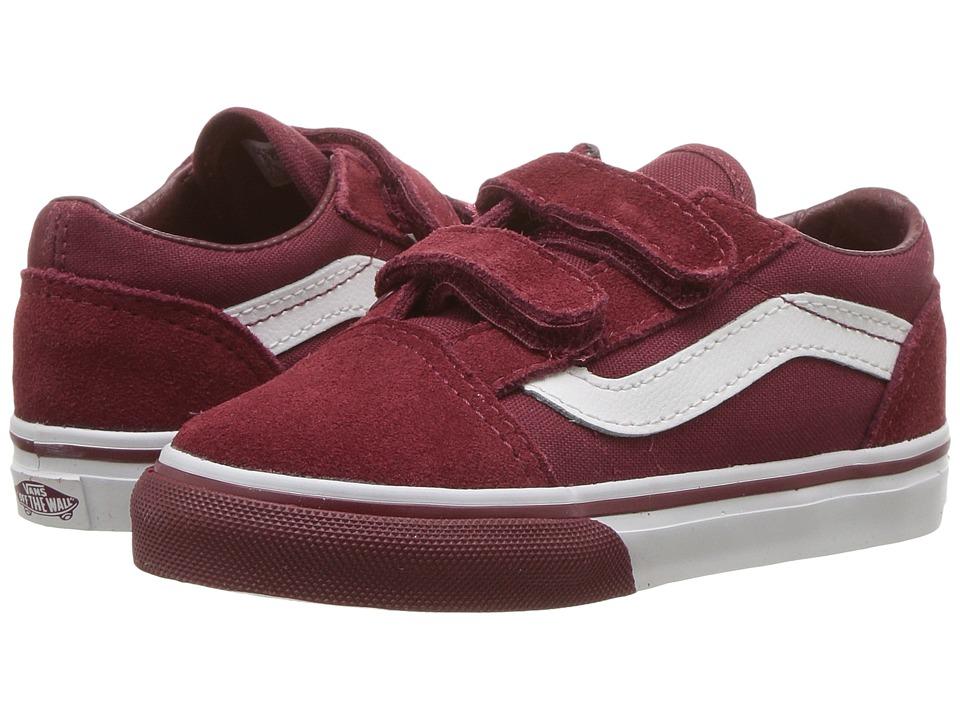 Vans Kids Old Skool V (Toddler) ((Mono Bumper) Cabernet/True White) Boys Shoes