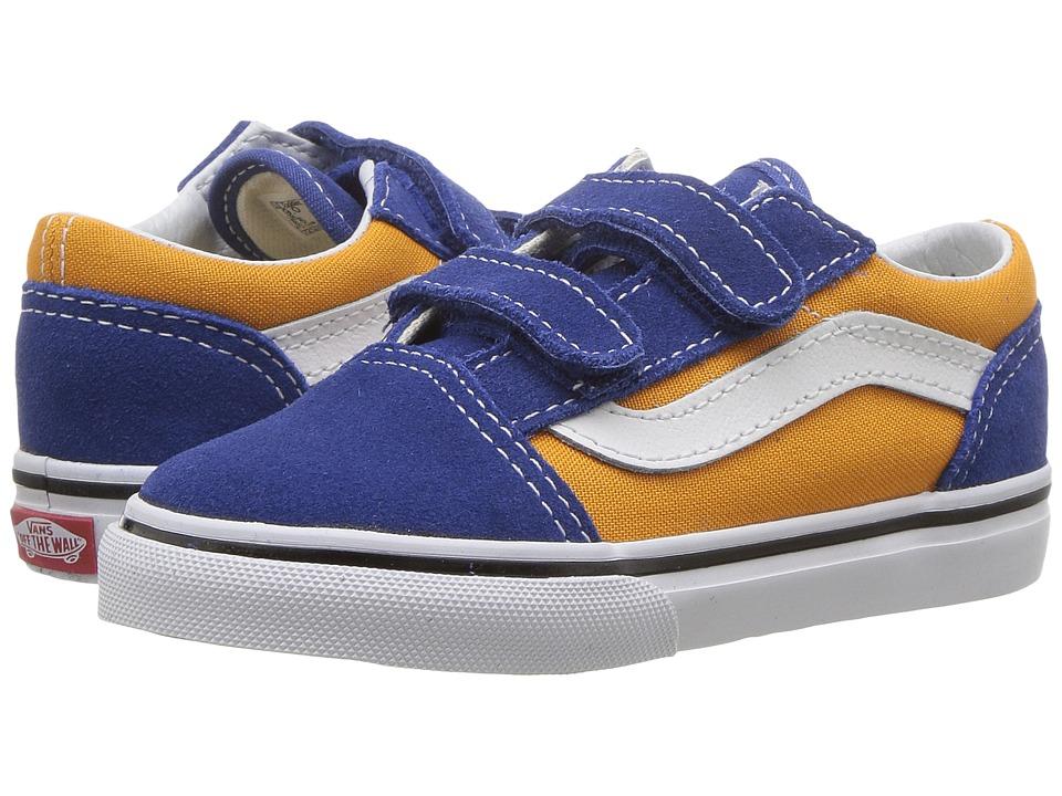 Vans Kids Old Skool V (Toddler) ((Pop) OG Blue/OG Gold) Boys Shoes