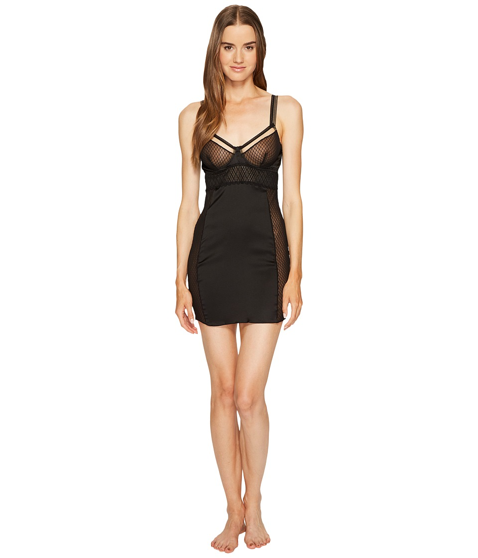 ELSE - Lattice Underwire Balcony Chemise (Black) Women's Pajama