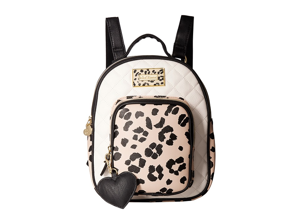 Betsey Johnson - Quilted Winged Heart Backpack (Cheetah) Backpack Bags