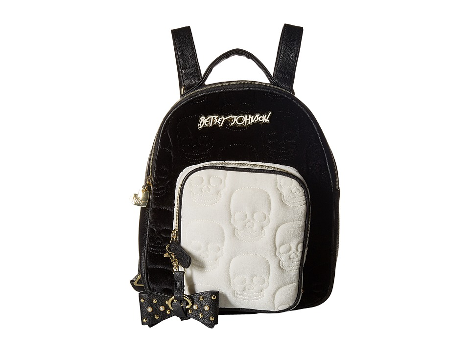 Betsey Johnson - Quilted Winged Heart Backpack (Black Cream) Backpack Bags
