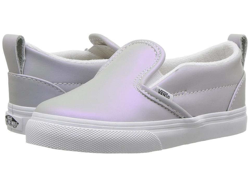 Vans Kids Slip-On V (Toddler) ((Muted Metallic) Gray/Violet) Girls Shoes