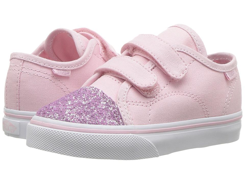Vans Kids Style 23 V (Toddler) ((Glitter Toe) Chalk Pink/True White) Girl