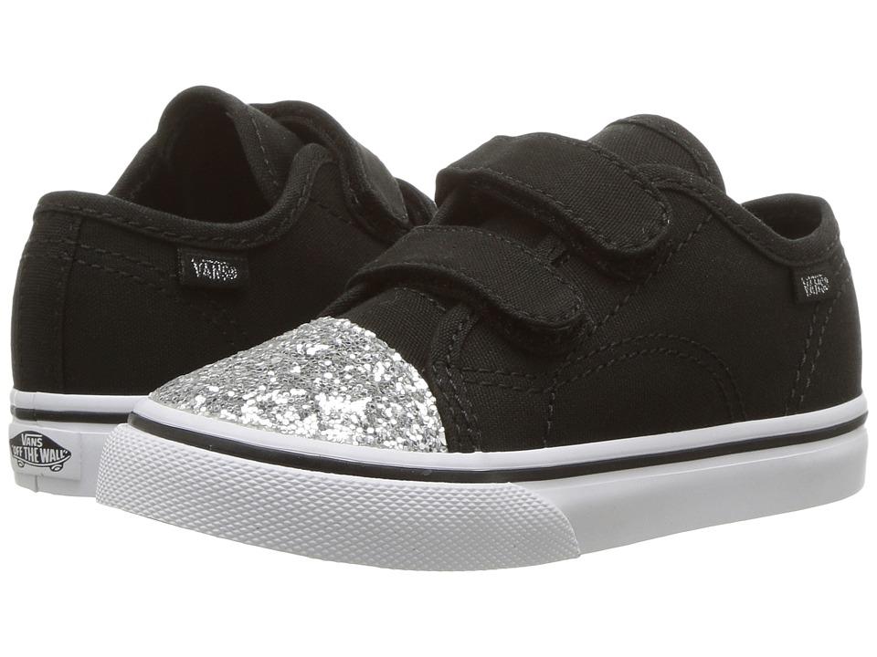 Vans Kids Style 23 V (Toddler) ((Glitter Toe) Black/True White) Girl