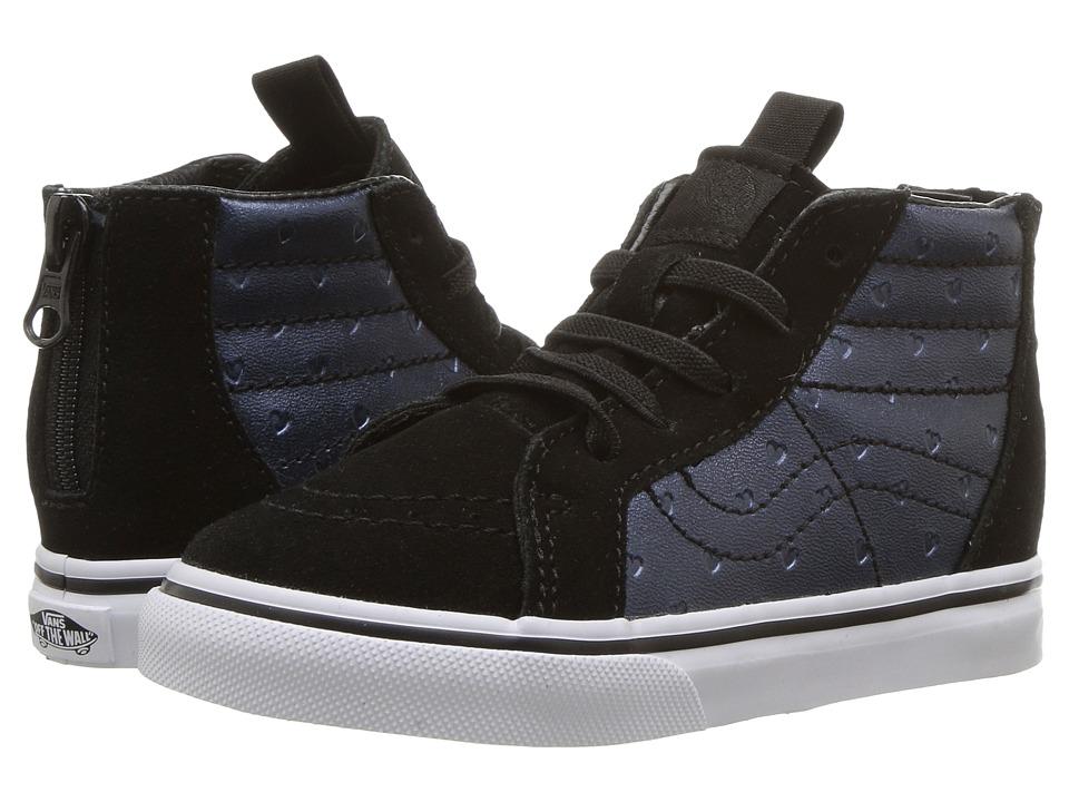 Vans Kids Sk8-Hi Zip (Toddler) ((Metallic Hearts) Emboss/Black) Girls Shoes