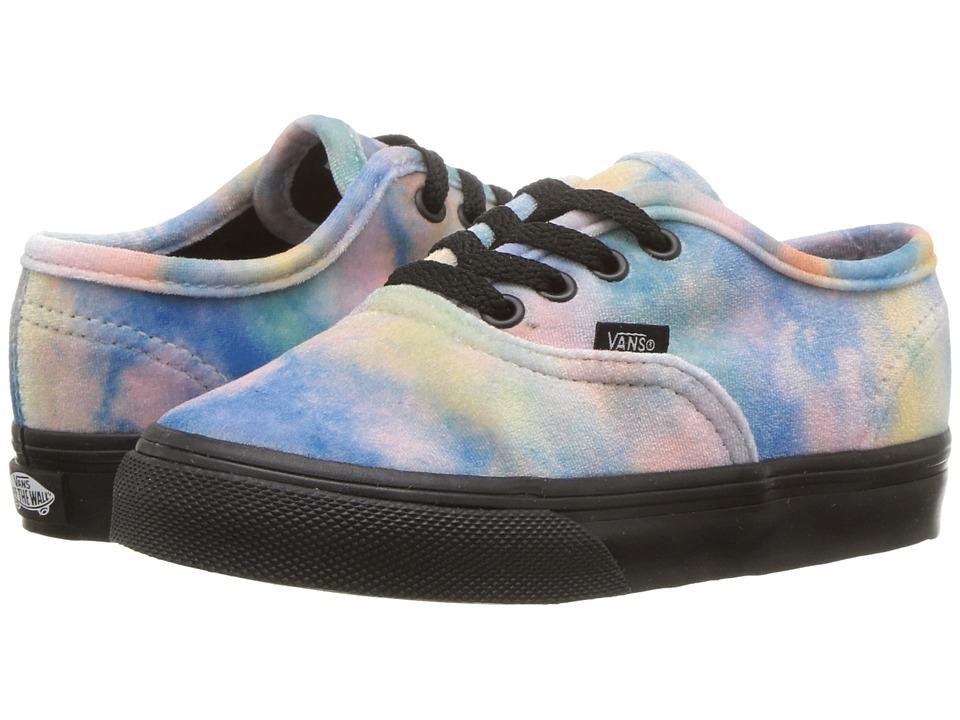 Vans Kids - Authentic (Toddler) ((Velvet Tie-Dye) Multi/Black) Girls Shoes