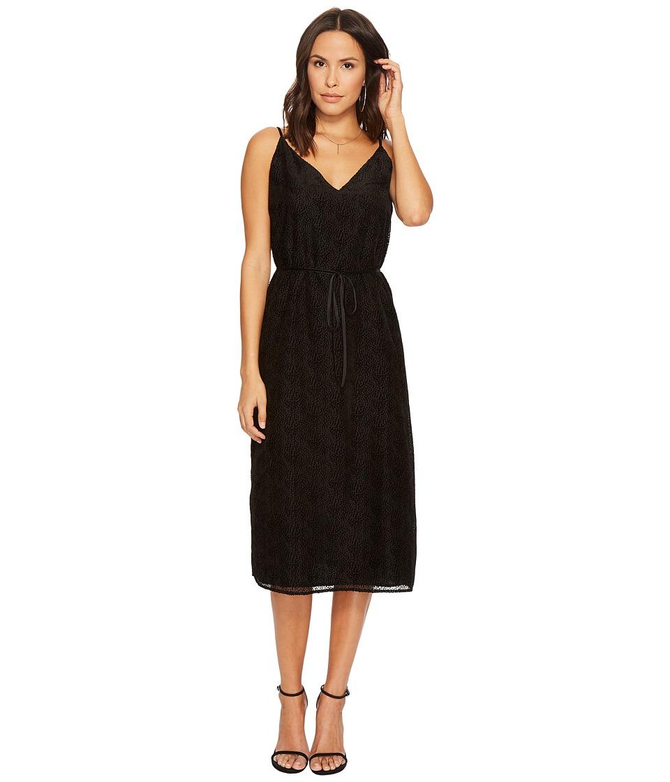 Image of BB Dakota - Alayna Burnout Velvet Midi Dress (Black) Women's Dress