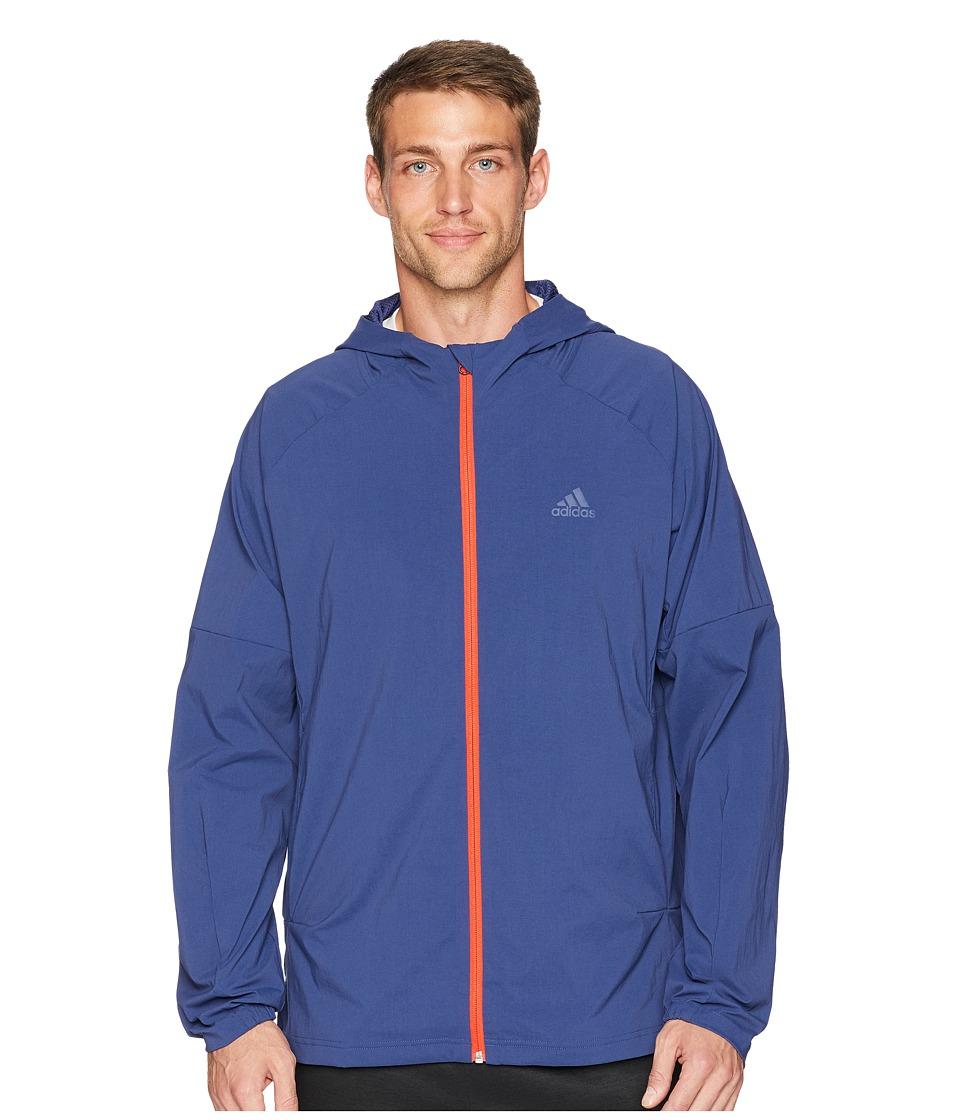 adidas Sport ID Full Zip Woven Hoodie (Noble Indigo) Men