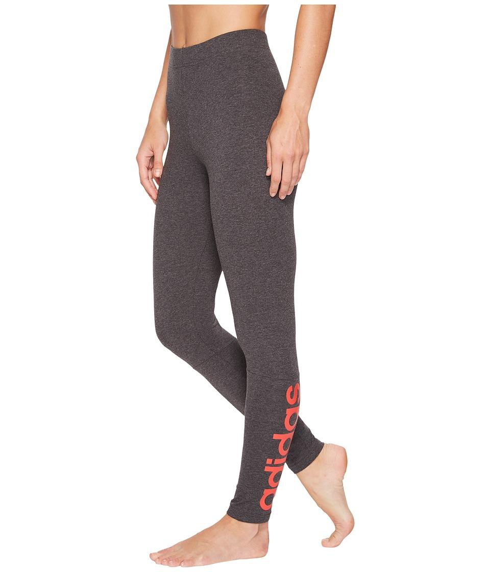 adidas Essentials Linear Tights (Dark Grey Heather/Real Coral) Women