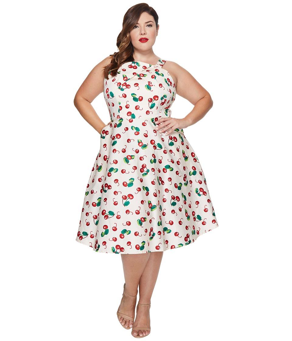 Unique Vintage - Plus Size Savannah Swing Dress (Peach/Cherry Print) Women's Dress
