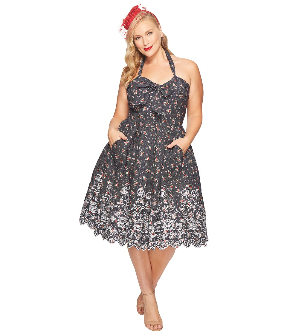 Unique Vintage - Plus Size Billie Halter Swing Dress (Navy Dot/Pink Floral) Women's Dress