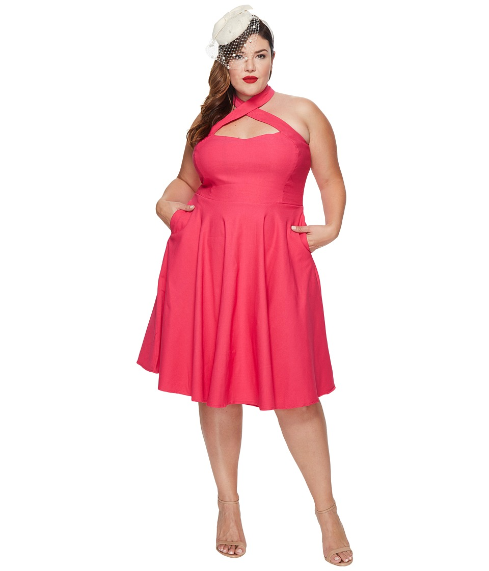 Unique Vintage - Plus Size Rita Flare Dress (Pink) Women's Dress
