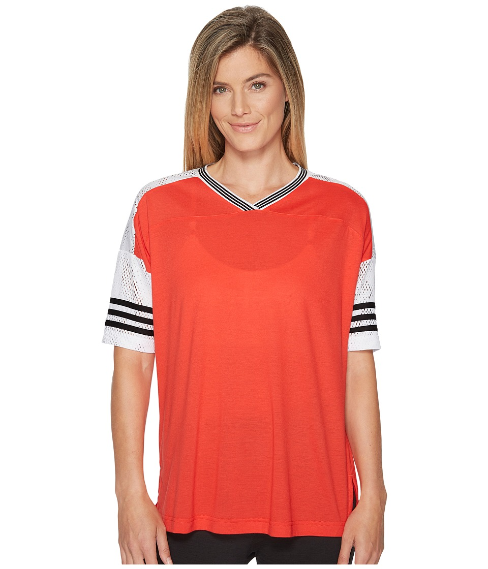 adidas Sport Id Short Sleeve Tunic (Real Coral/White/Black) Women