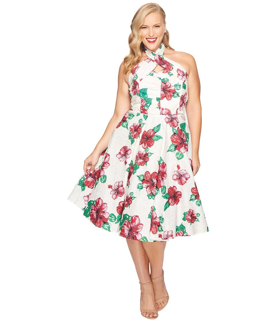 Unique Vintage - Plus Size Halter Flora Swing Dress (Cream/Hibiscus) Women's Dress