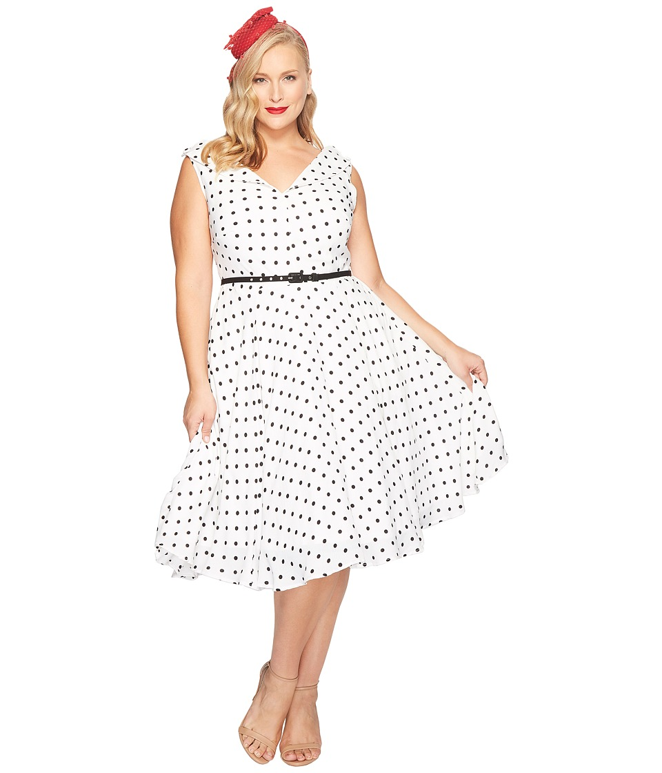 Unique Vintage - Plus Size Sleeveless Doris Swing Dress (White/Black Dotted) Women's Dress