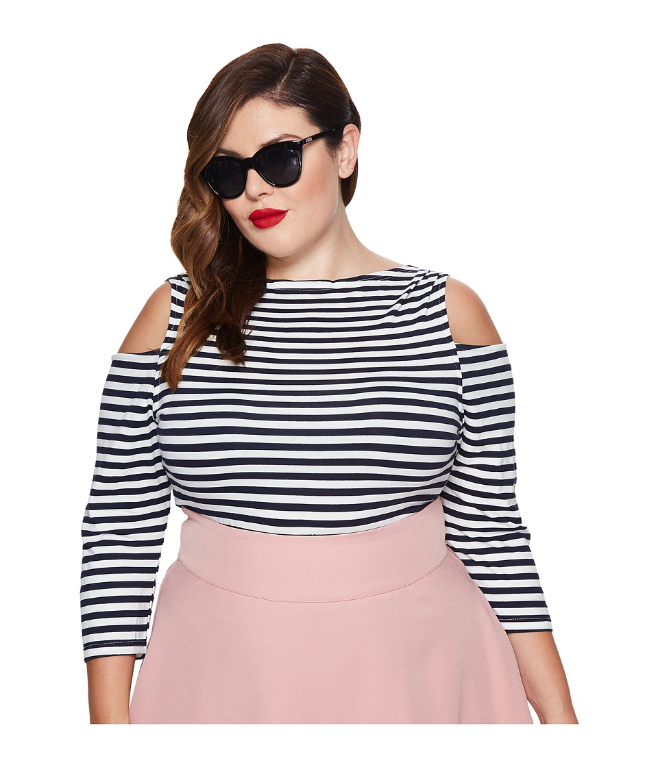 Unique Vintage - Plus Size Jagger Cold Shoulder Top (Navy/White Striped) Women's Clothing