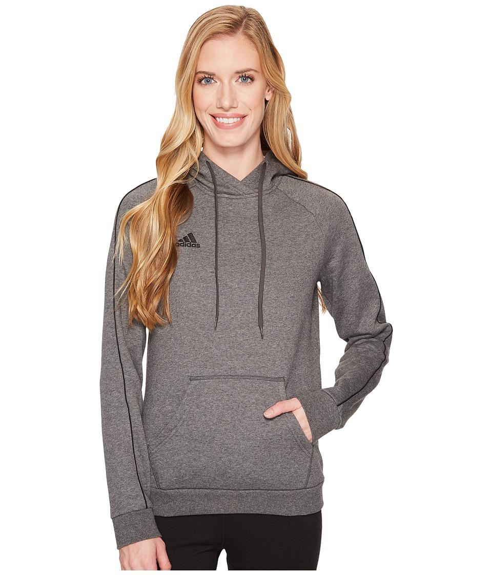 adidas Core18 Hoodie (Dark Grey Heather/Black) Women