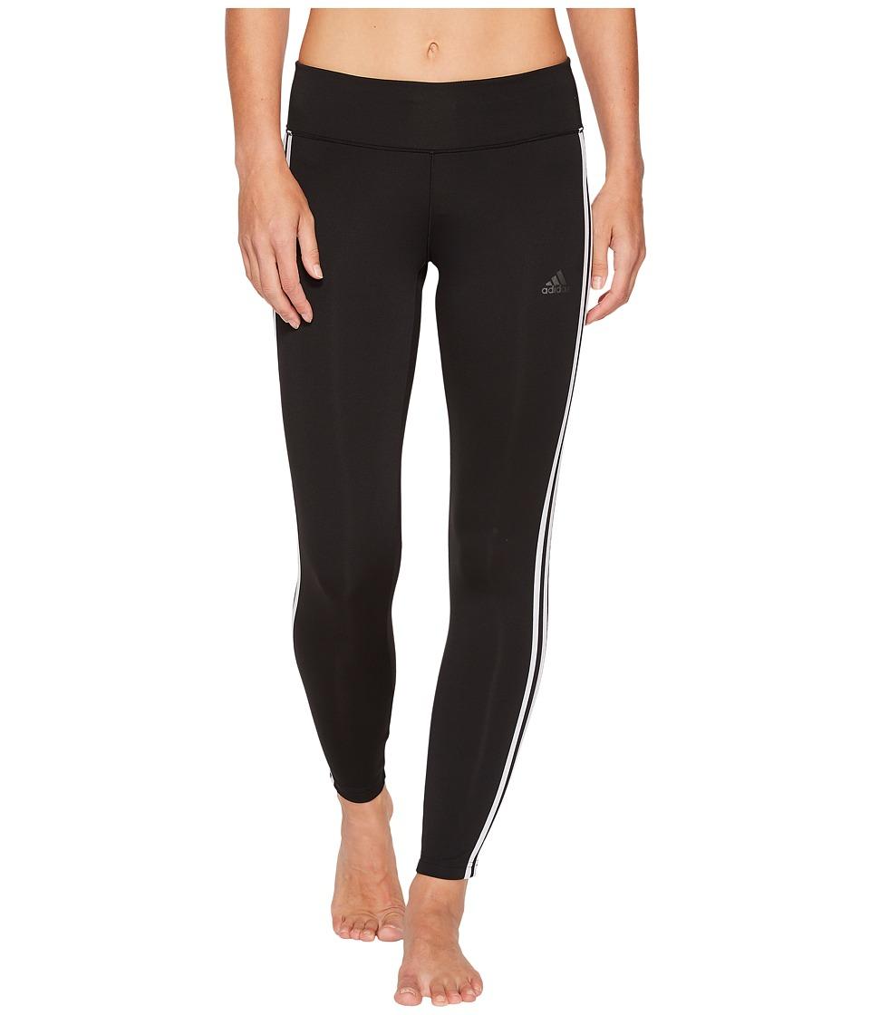 adidas Designed-to-Move 3-Stripe Long Tights (Black/White) Women