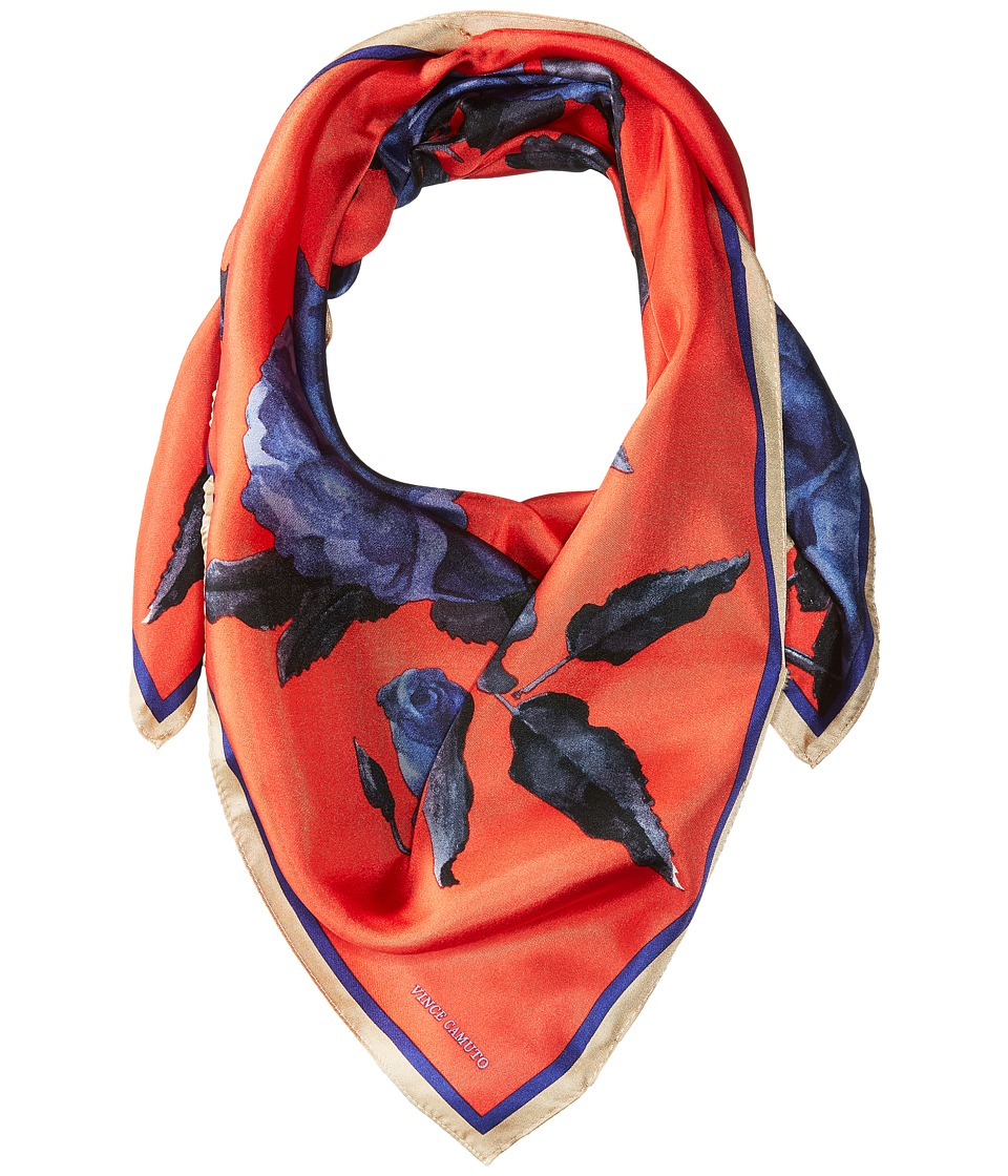Vince Camuto - Sepia Rose Square Scarf (Red/Blue) Scarves