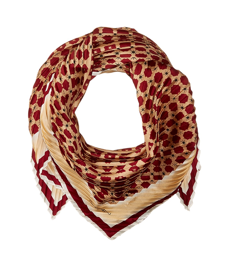 Vince Camuto - Military Dot Pleated Square Scarf (Pomegranate) Scarves
