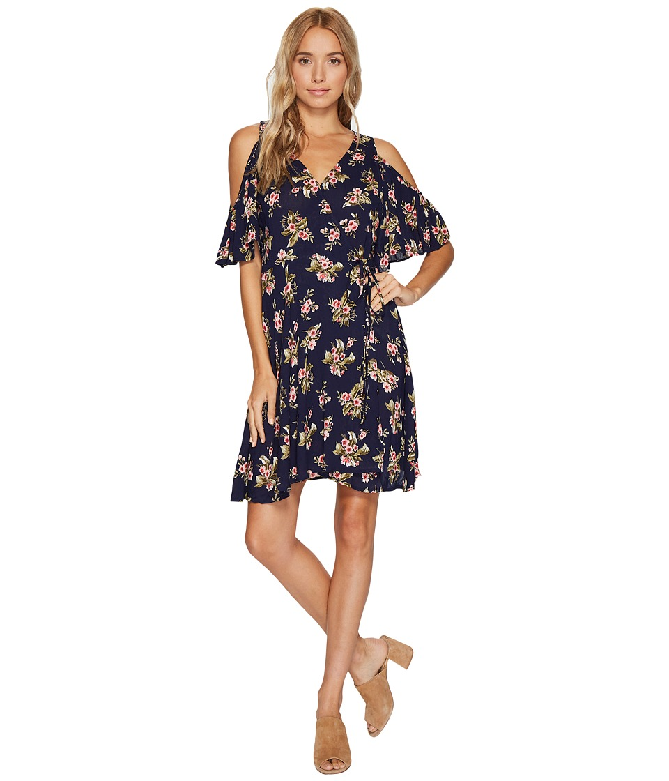 Angie - Cold Shoulder Wrap Dress (Navy) Women's Dress
