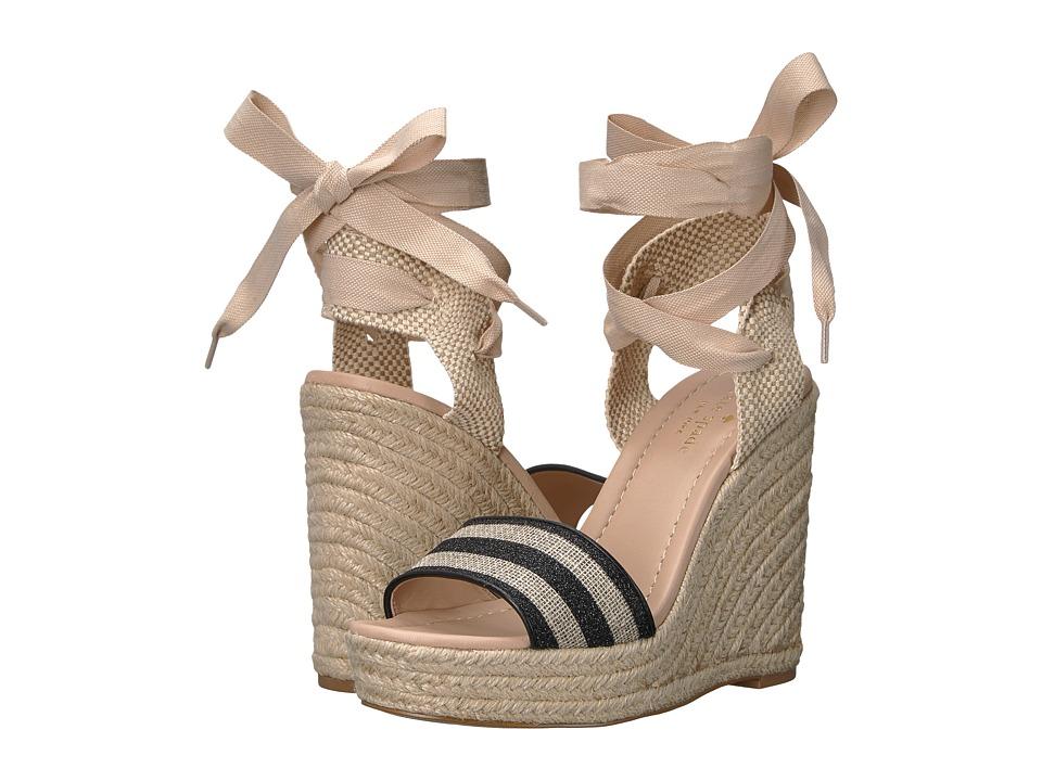 Kate Spade New York - Delano (Black/Natural Glitter Stripe Canvas/Black Nappa) Women's Shoes