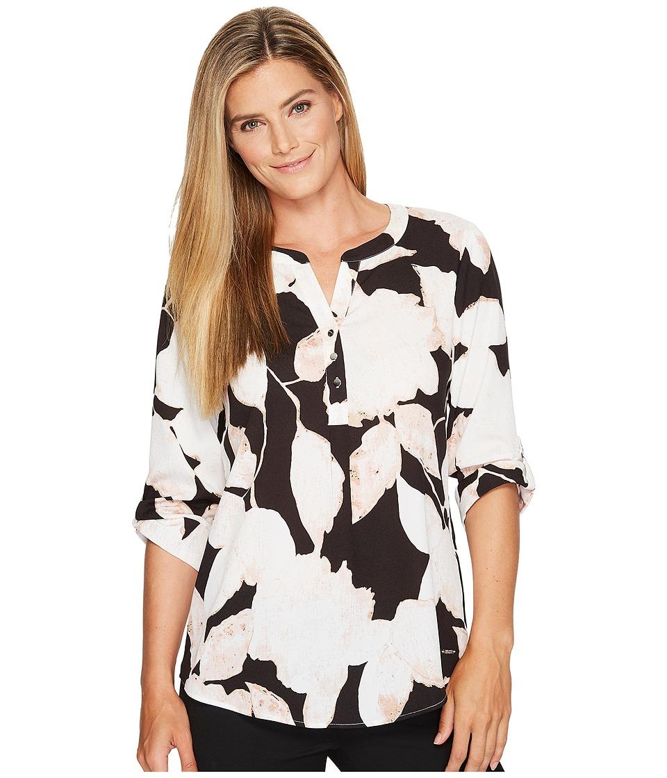 Ivanka Trump - Printed Woven Pullover Blouse (Black/Ivory) Women's Blouse