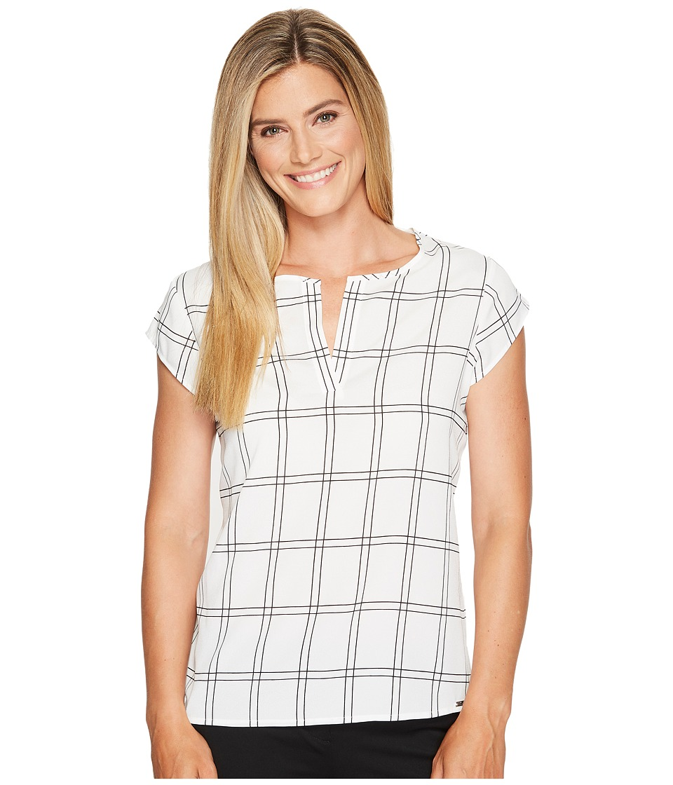 Ivanka Trump - Woven Window Pane Blouse (Ivory/Black) Women's Blouse